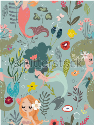 Canvastavlor Seamless pattern with cartoon mermaids and flowers