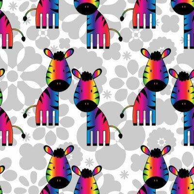 Canvastavlor Seamless rolig regnbåge zebror