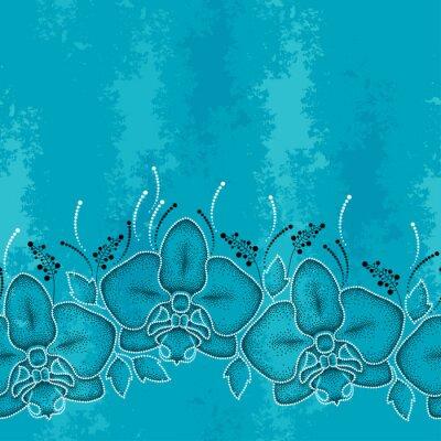 Canvastavlor Seamless streckade orkidé eller Phalaenopsis och löv på turkos texturerad bakgrund. Blommig bakgrund i dotwork stil.