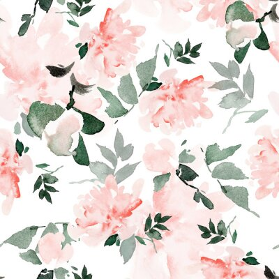 Canvastavlor Seamless summer pattern with watercolor flowers handmade.