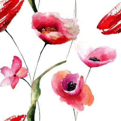 Canvastavlor Seamless tapet med vallmor blommor