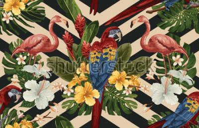 Canvastavlor Seamless tropisk mönster bakgrund med tropiska blommor, röd scarlet macaw och flamingo. Tropisk illustration i vintage Hawaiian stil.