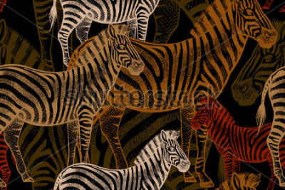 Canvastavlor Seamless vector pattern with African animals. Colored Zebra on a black background. Template to create fabric, Wallpaper, paper, textiles, curtains, design summer clothes in the style of Safari.
