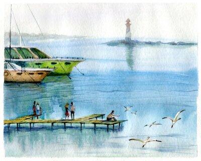 Canvastavlor Seascape, yachter, akvarell