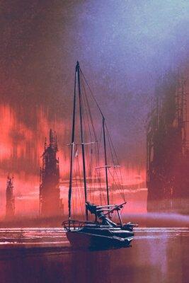 Canvastavlor Segelbåt på stranden mot övergivna byggnader i havet vid solnedgången med digital konststil, illustrationmålning