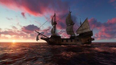 Canvastavlor Segelbåt till sjöss på kvällen vid solnedgång 3d illustration