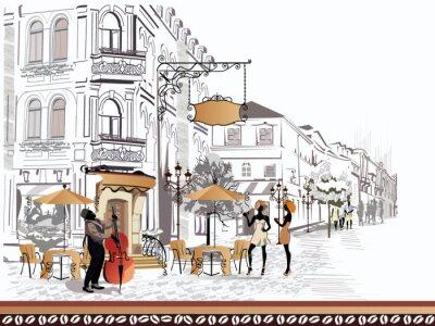 Canvastavlor Serie av utsikt mot gatan med människor i den gamla staden