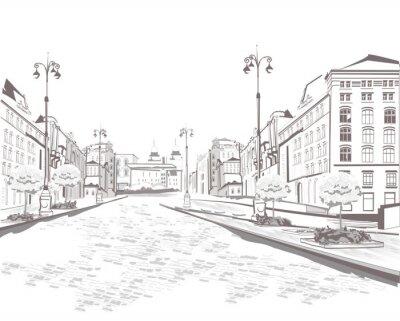 Canvastavlor Serie utsikt över gatan i den gamla staden, skiss