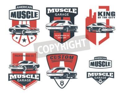 Canvastavlor Set med klassisk muskelbil ikon, emblem, emblem och ikoner isolerad på vit bakgrund. Service bil reparation, bil restaurering och bil klubb designelement.