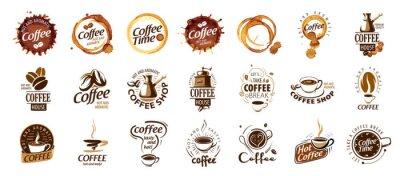 Canvastavlor Set of coffee logos. Vector illustration on white background