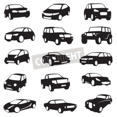 Canvastavlor set om femton svarta bilar silhuetter