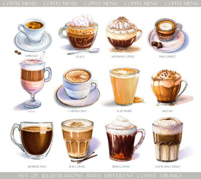 Canvastavlor Set with diferent coffee drinks for cafe or coffeehouse menu. Illustration of strong espresso, gentle latte, sweet macchiato and cappuccino, Viennese coffee and glace with ice cream.