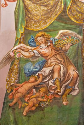 Canvastavlor Sevilla - fresco av ängel med rosor