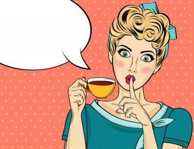 Canvastavlor Sexig blond popkonstkvinna med kaffekopp