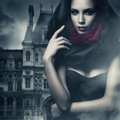 Canvastavlor sexig kvinna i svart huva och slott