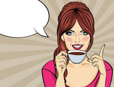 Canvastavlor Sexig popkonstkvinna med kaffekopp