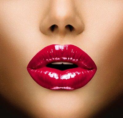 Canvastavlor Sexiga läppar. Vacker Make-up Närbild. Kyss