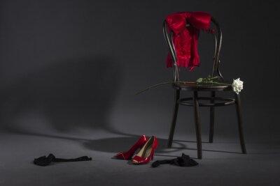 Canvastavlor Sexiga underkläder, skor och en vit ros på en retro stol.
