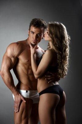 Canvastavlor Sexuell påbyggarfunktioner kramar flicka possessively