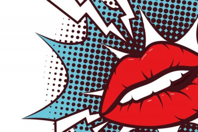 Canvastavlor sexy woman mouth with splash expression pop art style