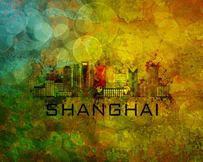 Canvastavlor Shanghai City horisont på grunge bakgrund Illustration