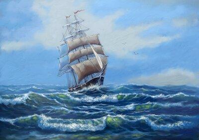 Canvastavlor Ship, havet oljemålningar landskap, konst