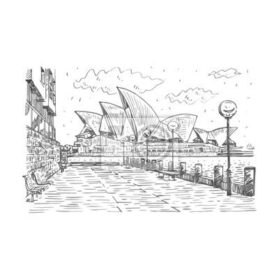 Canvastavlor Sidovy av Sydney Opera House i Sydney, Australien. Vektor frihand blyertsskiss.