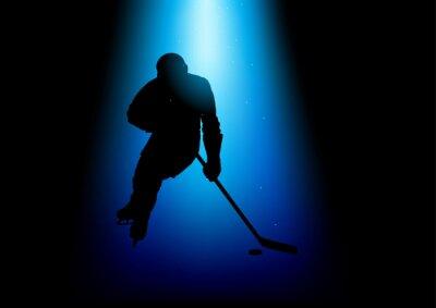 Canvastavlor Silhuett illustration av en hockeyspelare