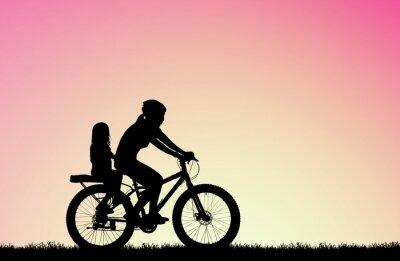 Canvastavlor silhuett Mor cykla med dotter på suddig soluppgång