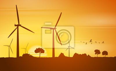 Canvastavlor silhuett windräder