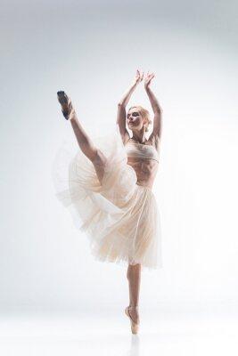 Canvastavlor Silhuetten av ballerina på vit bakgrund