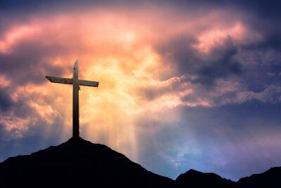 Canvastavlor Silhuetten av Cross at Sunrise