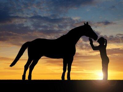 Canvastavlor Silhuetten av en flicka som ger en kyss häst i solnedgången