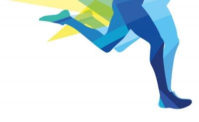 Canvastavlor Silhuetten av en man som kör ben transparent overlay färger
