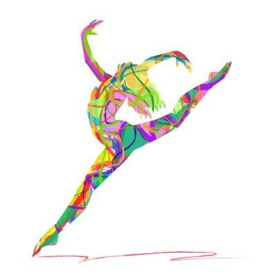 Canvastavlor siluett di ballerina composta da colori