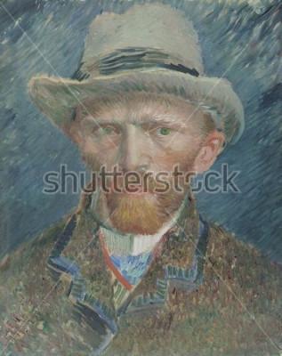 Canvastavlor Självporträtt, av Vincent van Gogh, 1887, nederländsk oljemålning. Han skildrade sig här som en fashionabelt klädd parisisk