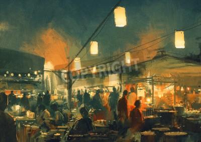 Canvastavlor skara människor som gick på marknaden på natten, digital målning