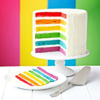 Canvastavlor skikt regnbåge kaka