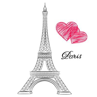 Canvastavlor skiss av Paris, Eiffeltornet med hjärtan. vektor