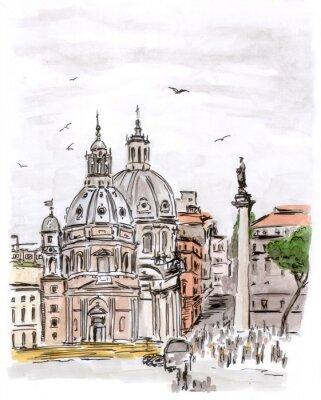 Canvastavlor Skiss av torg i Rom