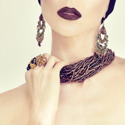 Canvastavlor skönhet Sinnlig flicka i smycken
