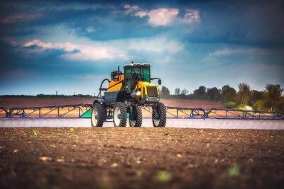 Canvastavlor Skördetröskare jordbruksmaskin skörd Golden Ripe wheat field