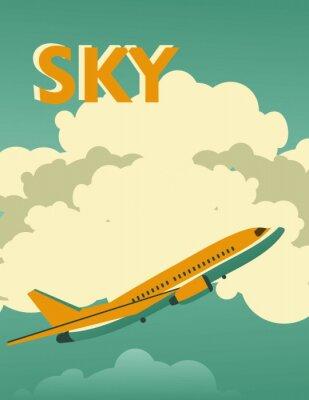 Canvastavlor Sky vintage affisch
