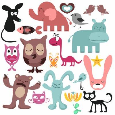 Canvastavlor Slumpmässig uppsättning av olika roliga djur
