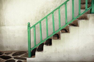 Canvastavlor Smutsiga trappor med räcken