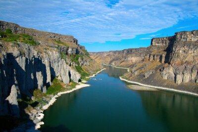 Canvastavlor Snake River och dess kanjon sett från Shoshonenedgångar i närheten av Twin Falls, Idaho