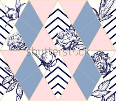 Canvastavlor Snyggt trendy geometriskt blandar monster med ponnyblommor. Perfekt konsekvent för mode. Vektor designelement