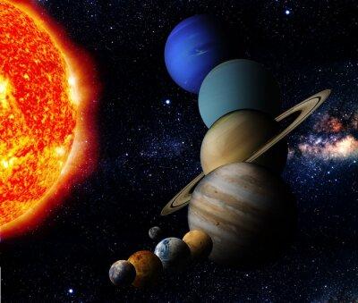Canvastavlor Solen och nio planeter i vårt system Orbiting