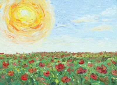 Canvastavlor Solen över vallmofält, målning, olja på duk
