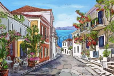 Canvastavlor solig kust i Grekland. målade händer.